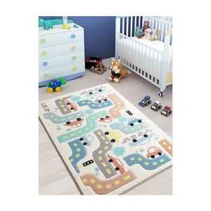 Detský biely koberec Confetti Baby Car, 100×150 cm