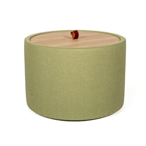 Odkladací stolík v zelenej farbe s odnímateľnou doskou z dubového dreva Askala Ibisco, ⌀ 56 cm