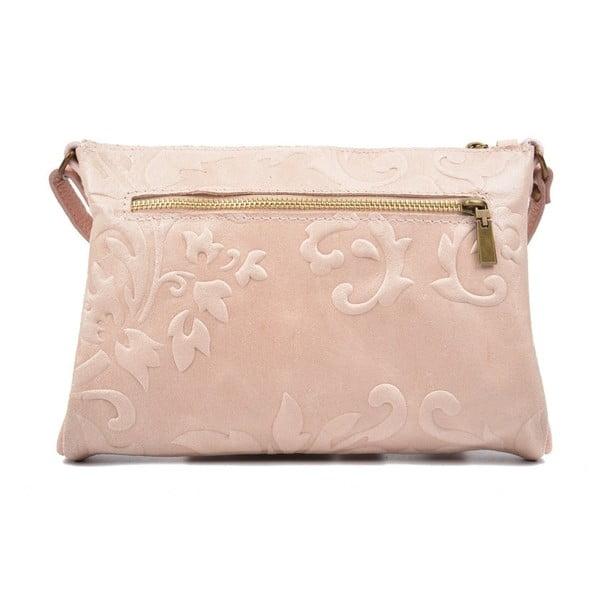 Svetloružová kožená kabelka Carla Ferreri Cipria