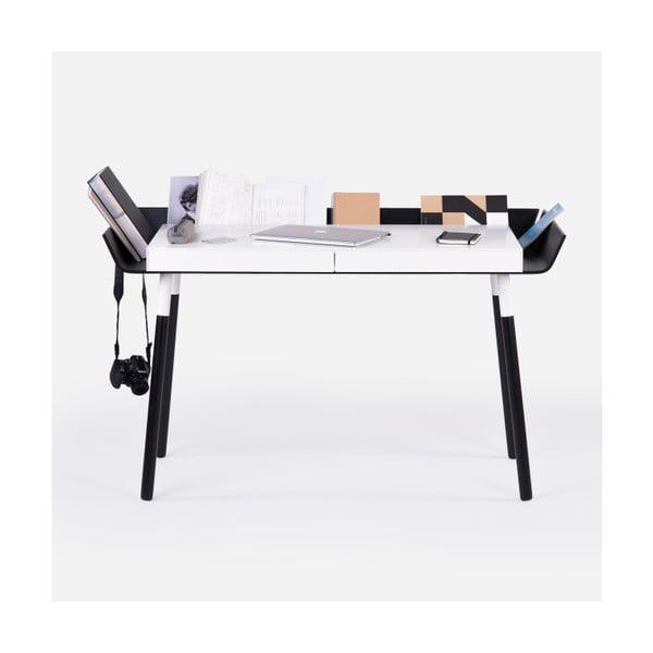 Čierno-biely písací stôl s 2 zásuvkami EMKO My Writing