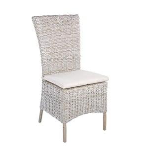 Biela ratanová stolička Bizzotto Isla