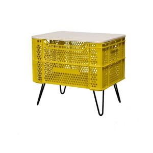 Žltý konferenčný stolík z recyklovaného plastu Really Nice Things Eco