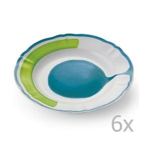 Sada 6 dezertných tanierov Giotto Green/Turquoise
