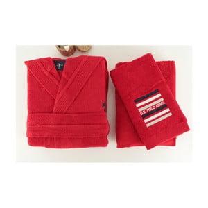Červená sada dámskeho župana a 2 uterákov U.S. Polo Assn. Lutsen, veľ. L