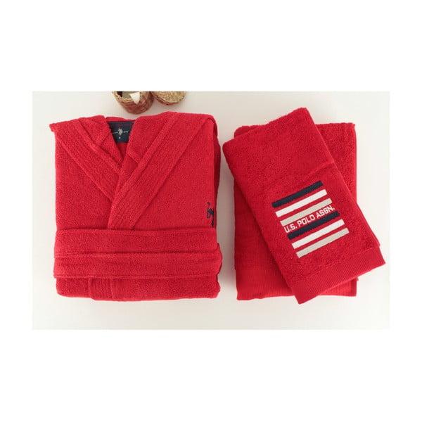 Červená sada dámskeho župana a 2 uterákov U.S. Polo Assn. Lutsen, veľ. M