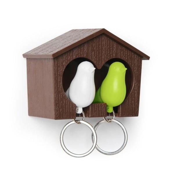 Búdka s kľúčenkami QUALY Duo Sparrow, hnedá búdka/biela+zelená kľúčenka