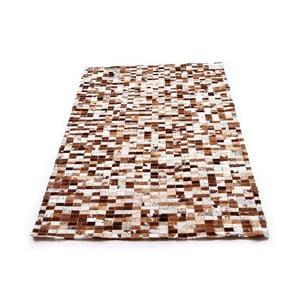 Hnedý mozaikový koberec z hovädzej kože, 200x150cm