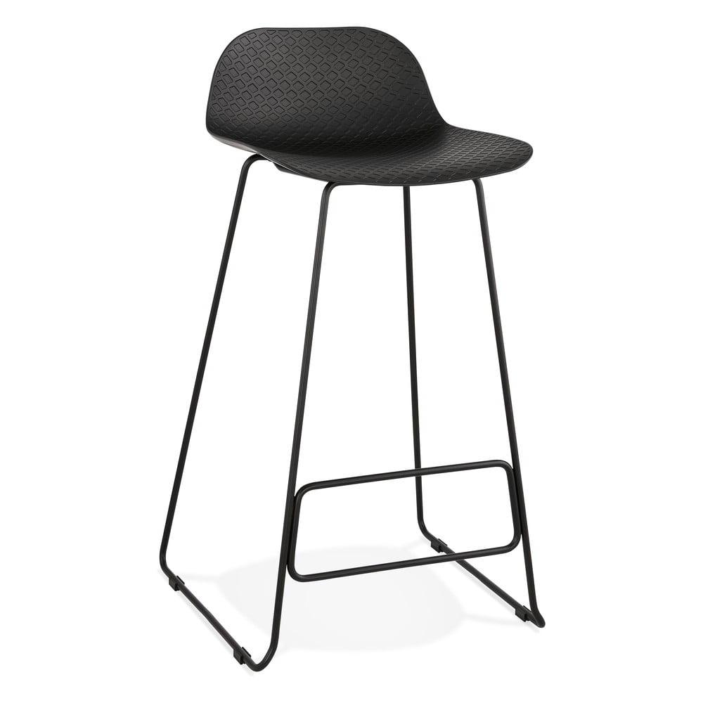 Čierna barová stolička s čiernymi nohami Kokoon Slade, výška sedu 76 cm