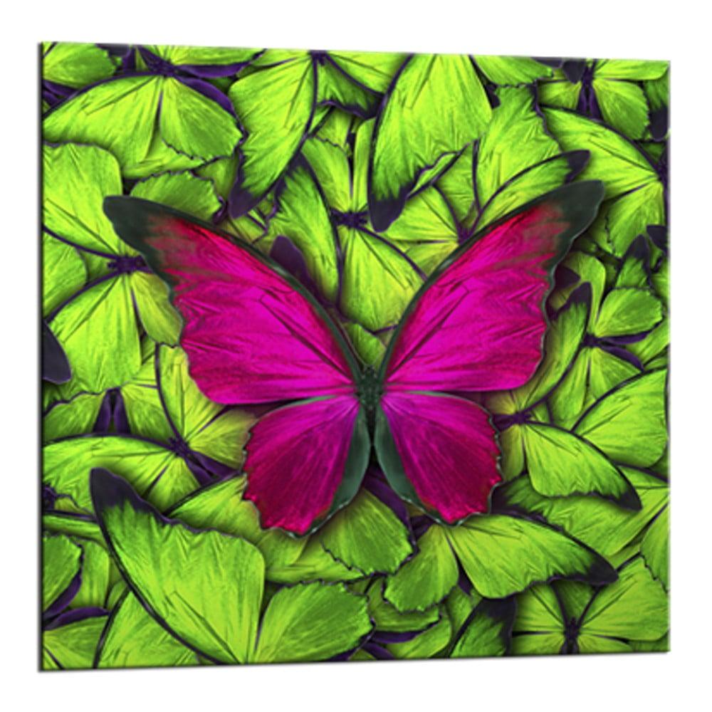 Obraz Styler Glasspik Green Butterfly, 20 × 20 cm