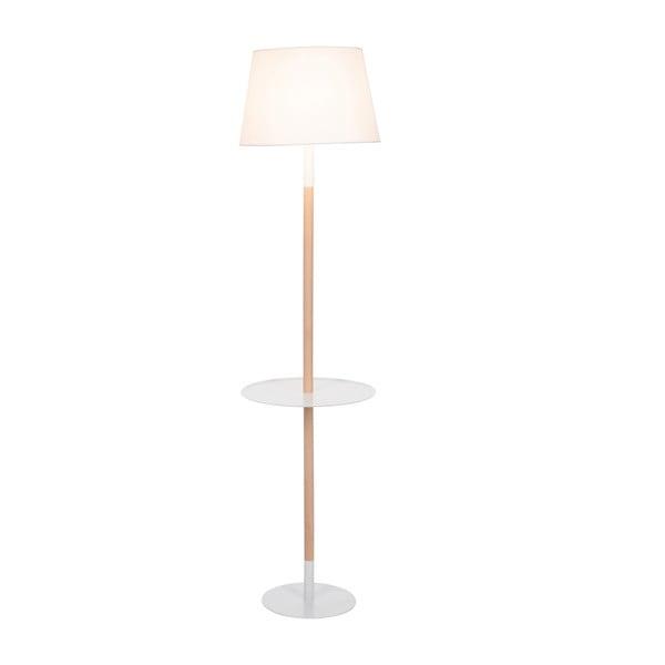 Stojacia lampa s odkladacím stolíkom Vintage White