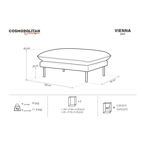 Béžová podnožka Cosmopolitan Design Vienna, 100×80 cm