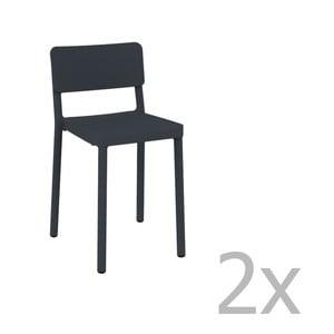 Sada 2 tmavosivých barových stoličiek vhodných do exteriéru Resol Lisboa, výška 72,9 cm