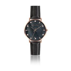 Dámske hodinky s čiernym remienkom z pravej kože Emily Westwood Noir