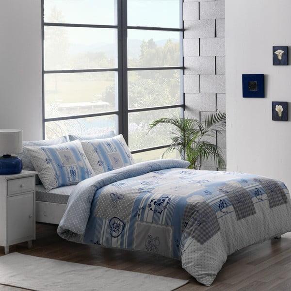 Bavlnené obliečky TAC Blue Patchwork s plachtou, 200 x 220 cm