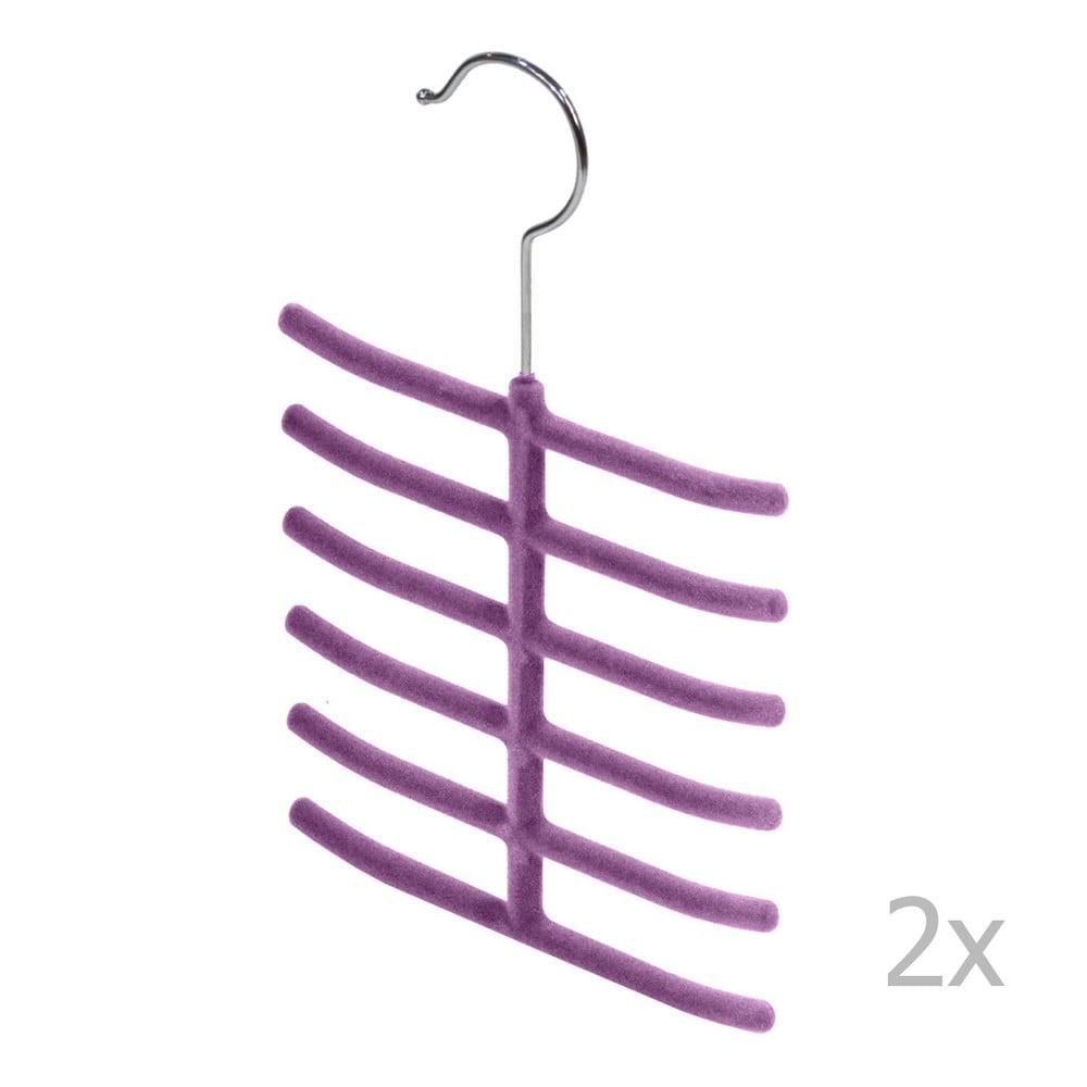 Sada 2 fialových vešiakov na kravaty a doplnky Domopak Living