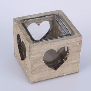 Drevený svietnik Heart