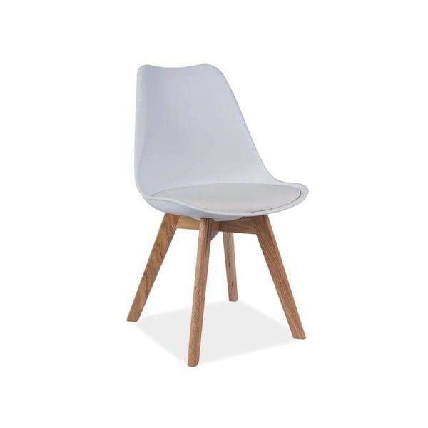 Biela stolička s dubovými nohami Signal Kris