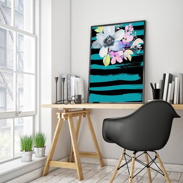 Plagát s kvetmi, tyrkysovo-čierne pozadie, 30 x 40 cm