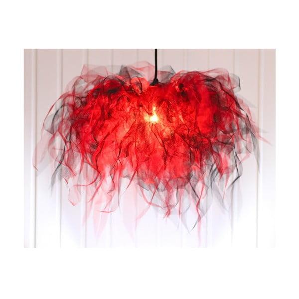 Stropné svetlo Ellen Munter vel. L, červené s čiernym káblom