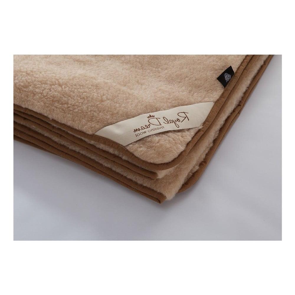Hnedá deka z merino vlny Royal Dream, 140 × 200 cm