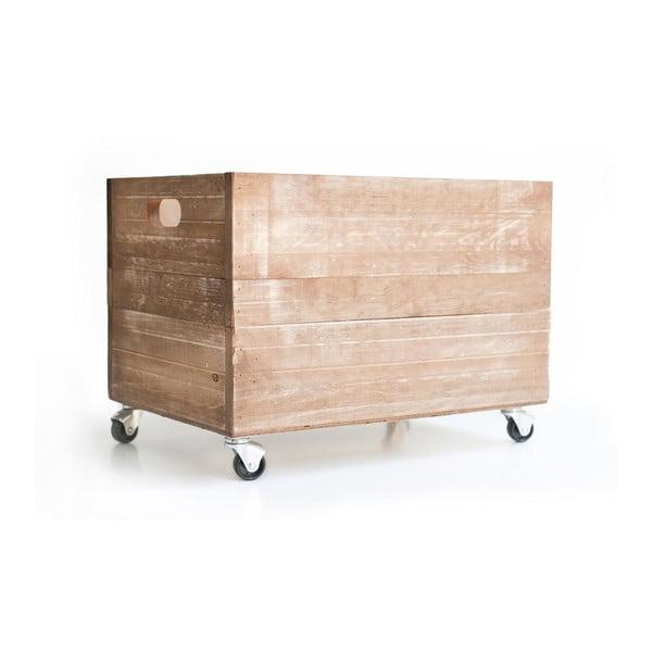 Hnedá rustikálna drevená bednička Really Nice Things Wheels