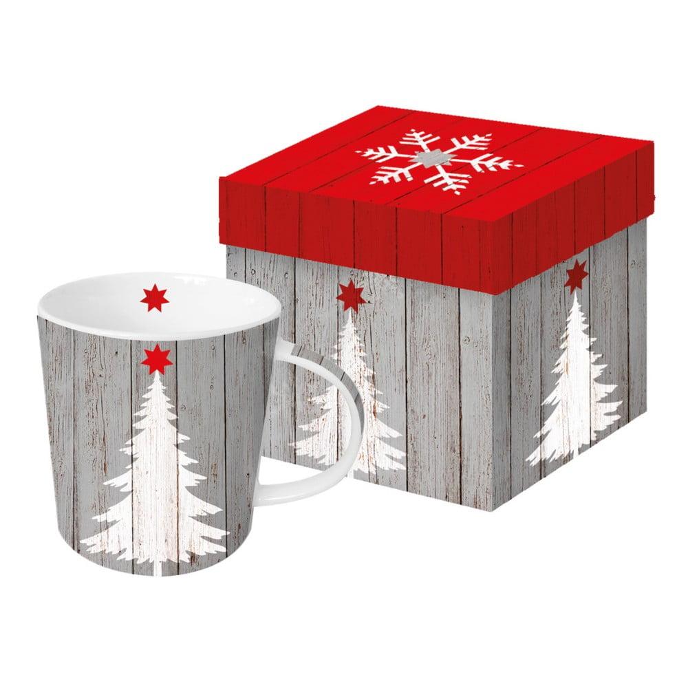 Hrnček z kostného porcelánu s vianočným motívom v darčekovom balení PPD Tree On Wood, 350 ml