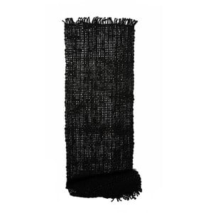 Čierny jutový behúň na stôl Simla Tassel, 150 × 45 cm
