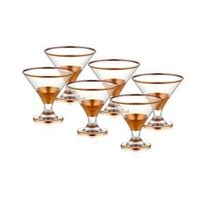 Sada 6 sklenených pohárov na servírovanie zmrzliny v medenom dekóre The Mia Glam