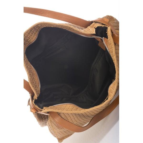 Koňakovohnedá kožená kabelka Markese Hela