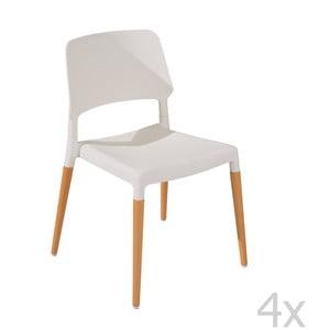 Sada 4 jedálenských stoličiek Molde White