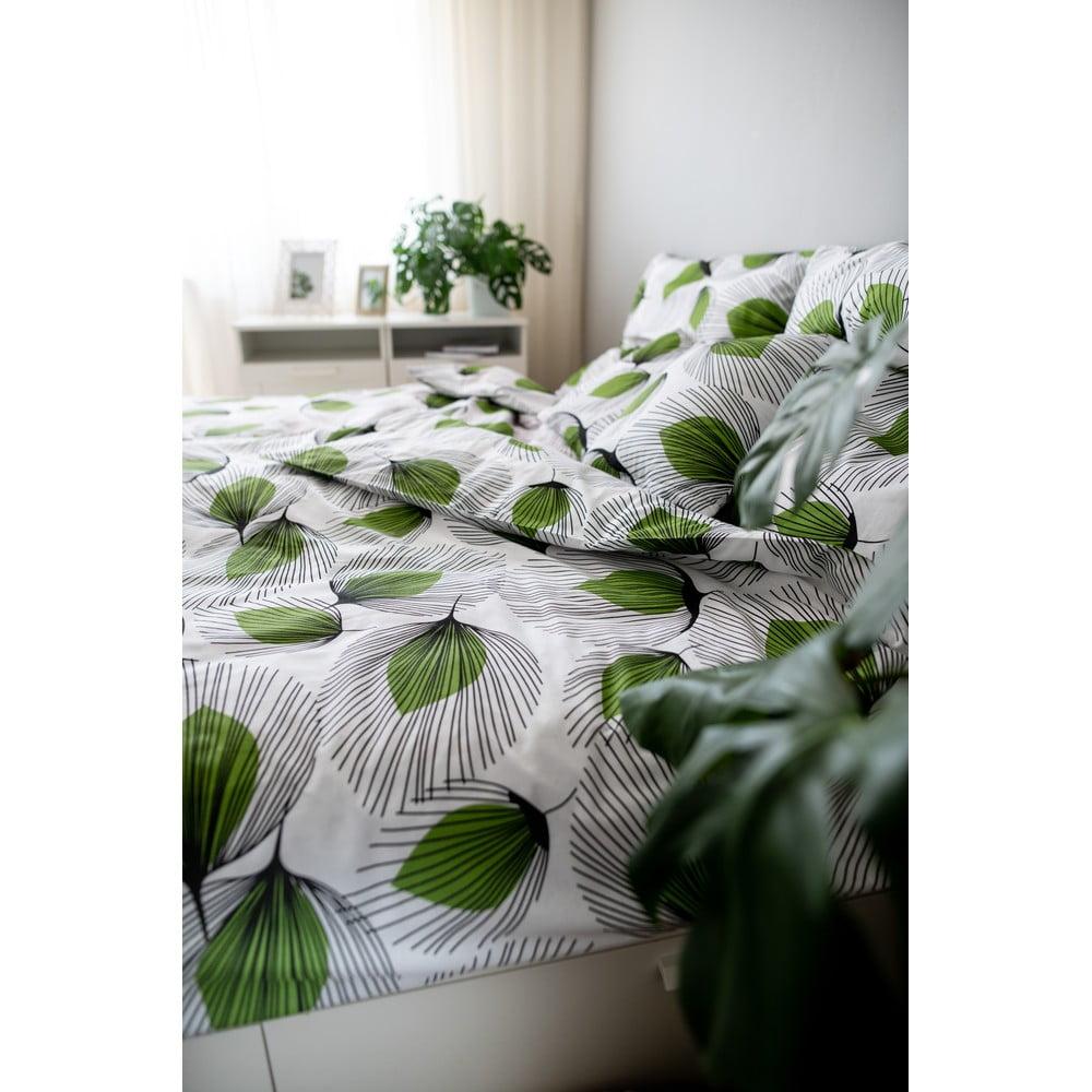 Zeleno-biele bavlnené obliečky Cotton House Green Leaf, 140 x 200 cm