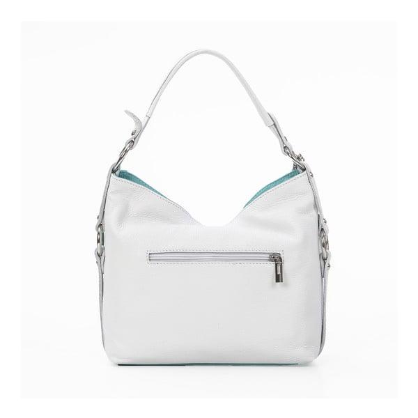 Kožená kabelka Chorche, biela/sv.modrá