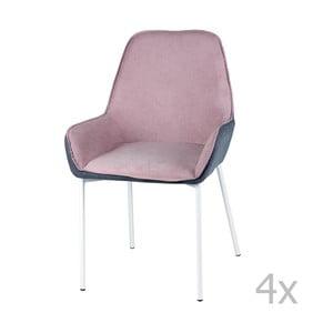Sada 4 svetloružových jedálenských stoličiek sømcasa Martina