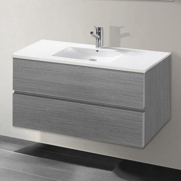 Kúpeľňová skrinka s umývadlom a zrkadlom Flopy, odtieň sivej, 90 cm