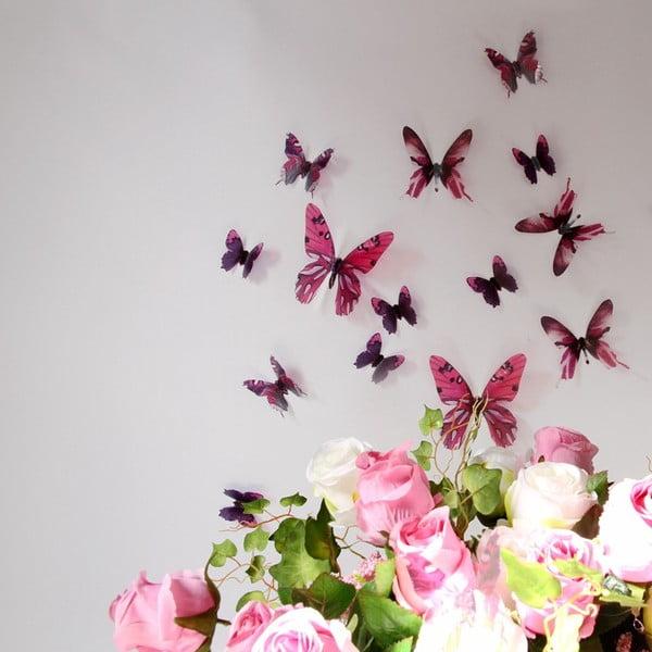 Trojrozmerné samolepky motýlikov, farba ružová