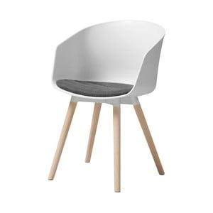Biela jedálenská stolička s dubovými nohami Interstil Moon