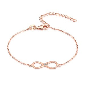 Strieborný náramok vo farbe ružového zlata s pravým diamantom Tess Diamonds Olivia