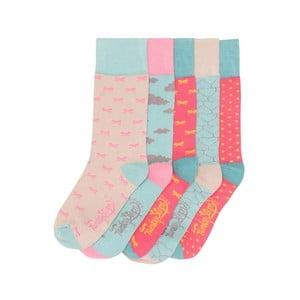 Sada 5 párov farebných ponožiek Funky Steps Pastels, veľ. 35-39