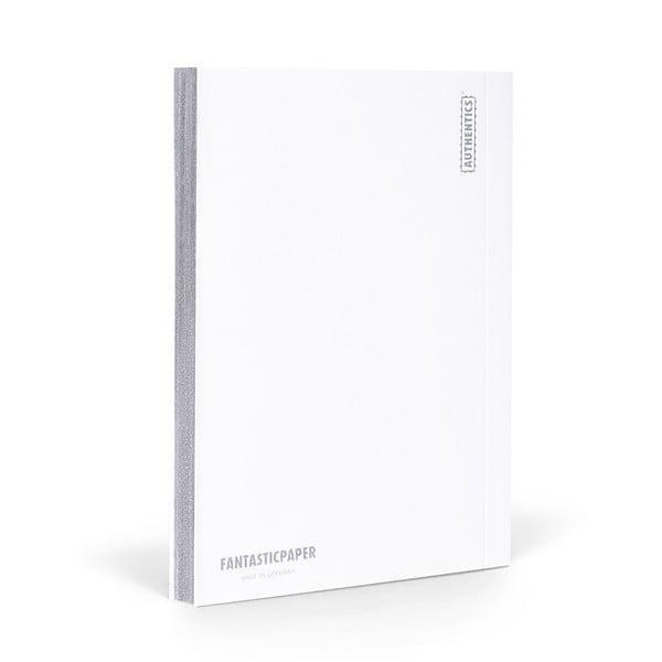 Zápisník FANTASTICPAPER A5 Snow/Silver, štvorčekový