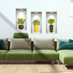 Sada 3 3D samolepiek na stenu Ambiance Palm Leavs