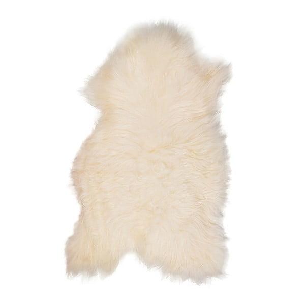 Biela ovčia kožušina s dlhým vlasom Ptelja, 110 x 60 cm