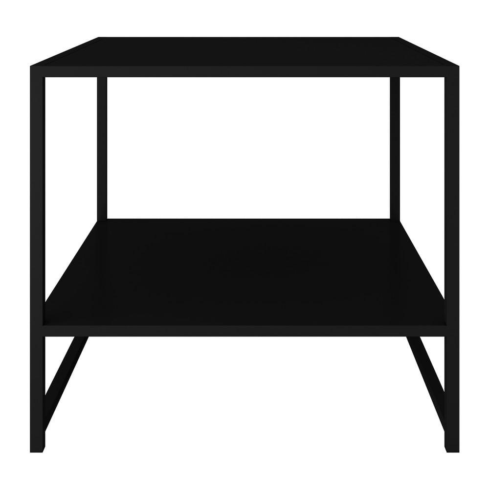Čierny kovový odkladací stolík Canett Lite, 50 x 50 cm
