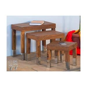 Sada 3 stoličiek z palisandrového dreva SOB Margao Rectangle