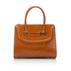 Koňaková hnedá kožená kabelka Lisa Minardi Calf
