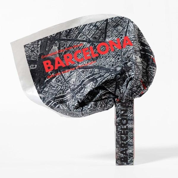 Pokrčená cestovná mapa zo satelitu Barcelona