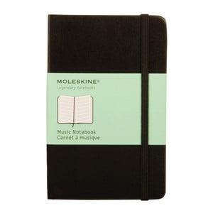 Čierny zápisník Moleskine Music s notovou osnovou, malý