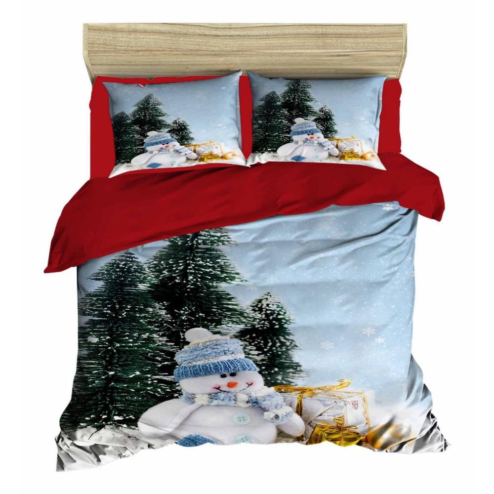Vianočné obliečky na dvojlôžko s plachtou Carolina, 160×220 cm