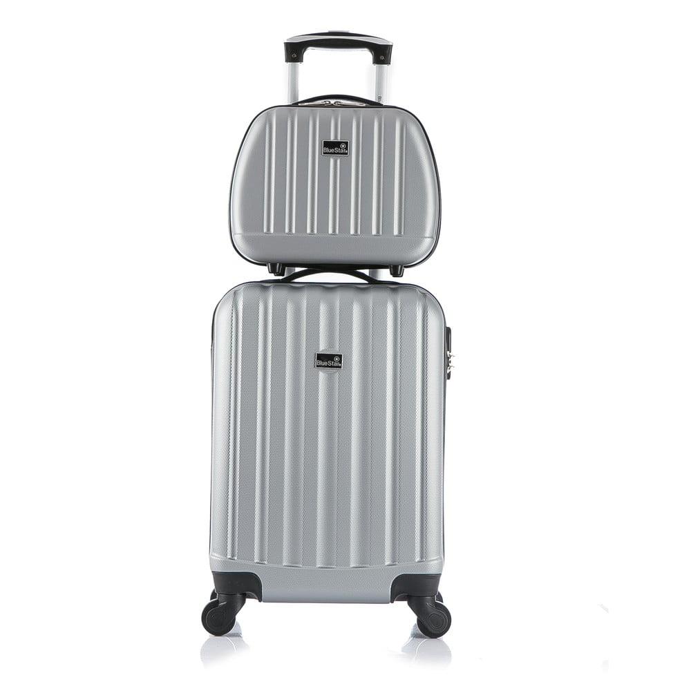ddeffab6ee404 Cestovný kufor v striebornej farbe s príručnou batožinou Blue Star Prague,  47 l