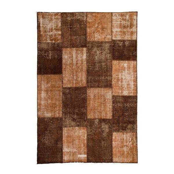 Vlnený koberec Allmode Patchwork Brown, 200x140 cm