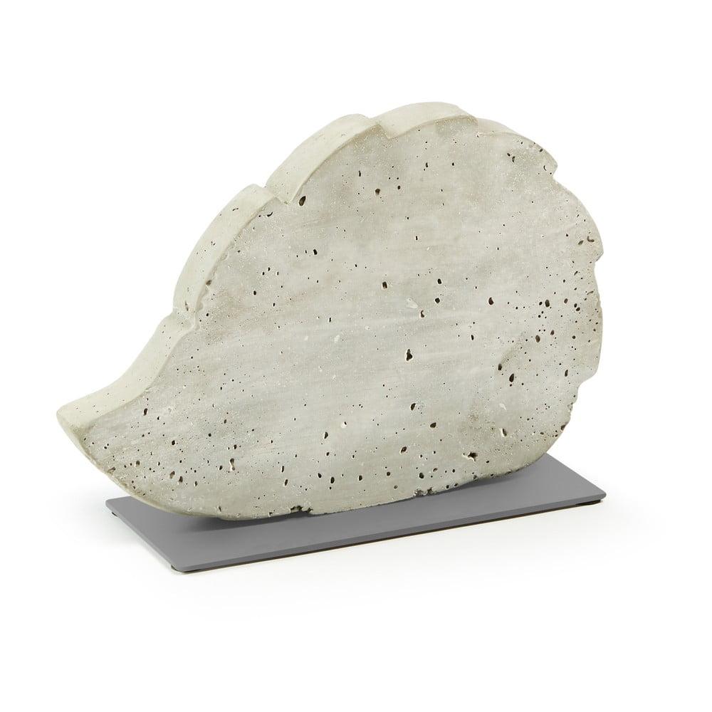 Biela cementová dekorácia La Forma Sens Hedgehog, 30 x 20 cm
